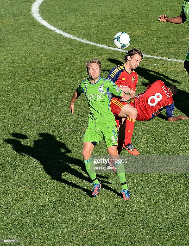 Adam Johansson #5 of the Seattle Sounders goes up to head the ball against Ned Grabavoy #20 of Real Salt Lake in the first half during FC Tucson Desert Diamond Cup at Kino Sports Complex on February 16, 2013 in Tucson, Arizona. Seattle Sounders defeated Real Salt Lake 2-1.
