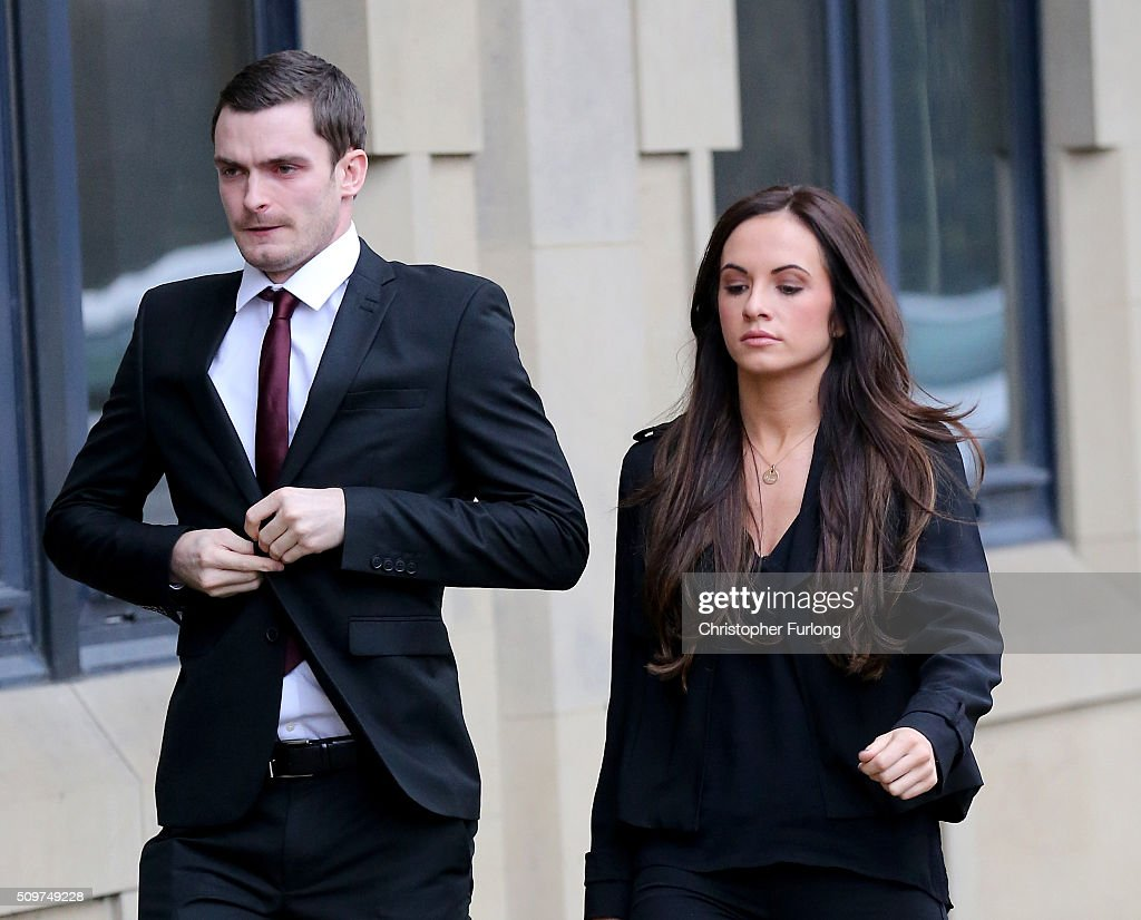 <a gi-track='captionPersonalityLinkClicked' href=/galleries/search?phrase=Adam+Johnson+-+Soccer+Player&family=editorial&specificpeople=6720094 ng-click='$event.stopPropagation()'>Adam Johnson</a> and his girlfriend Stacey Flounders arrive at Bradford Crown Court where Johnson is facing child sexul assault charges on February 12, 2016 in Bradford, England. The fomer Sunderland FC midfielder, aged 28 and from Castle Eden, County Durham, is on trial for two counts of sexual activity having pleaded guilty to two others.