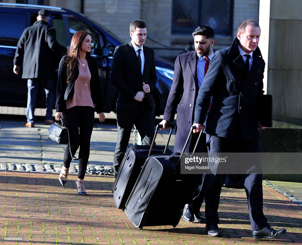 <a gi-track='captionPersonalityLinkClicked' href=/galleries/search?phrase=Adam+Johnson+-+Soccer+Player&family=editorial&specificpeople=6720094 ng-click='$event.stopPropagation()'>Adam Johnson</a> (C) arrives with girlfriend Stacey Flounders and legal team at the Crown Court on February 10, 2016 in Bradford, England. The Sunderland FC midfielder, aged 28 and from Castle Eden, County Durham, is on trial having previously denied three counts of sexual activity with a child and one count of grooming. He has one daughter.