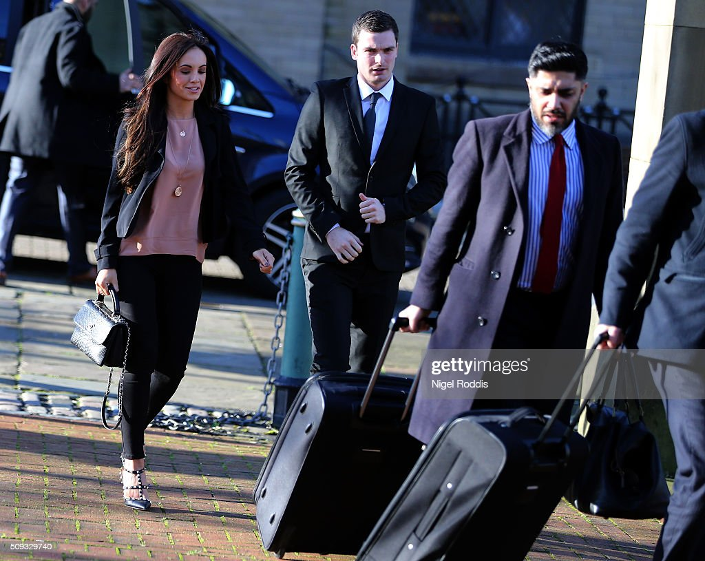 <a gi-track='captionPersonalityLinkClicked' href=/galleries/search?phrase=Adam+Johnson+-+Soccer+Player&family=editorial&specificpeople=6720094 ng-click='$event.stopPropagation()'>Adam Johnson</a> (2ndL) arrives with girlfriend Stacey Flounders (L) at the Crown Court on February 10, 2016 in Bradford, England. The Sunderland FC midfielder, aged 28 and from Castle Eden, County Durham, is on trial having previously denied three counts of sexual activity with a child and one count of grooming. He has one daughter.