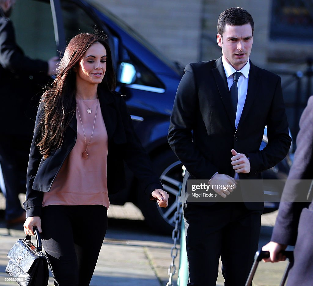 <a gi-track='captionPersonalityLinkClicked' href=/galleries/search?phrase=Adam+Johnson+-+Soccer+Player&family=editorial&specificpeople=6720094 ng-click='$event.stopPropagation()'>Adam Johnson</a> arrives with girlfriend Stacey Flounders at the Crown Court on February 10, 2016 in Bradford, England. The Sunderland FC midfielder, aged 28 and from Castle Eden, County Durham, is on trial having previously denied three counts of sexual activity with a child and one count of grooming. He has one daughter.