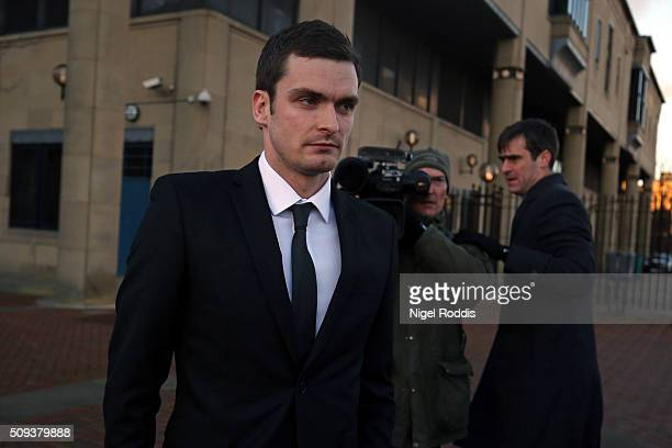 Adam Johnson leaving Crown Court after admitting two charges against him and pleading not guilty to two others on February 10 2016 in Bradford...