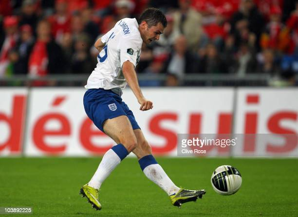Adam Johnson of England scores during the UEFA EURO 2012 Group G Qualifier between Switzerland and England at St Jakob Park on September 7 2010 in...