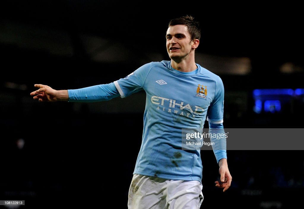 <a gi-track='captionPersonalityLinkClicked' href=/galleries/search?phrase=Adam+Johnson+-+Soccer+Player&family=editorial&specificpeople=6720094 ng-click='$event.stopPropagation()'>Adam Johnson</a> of Manchester City celebrates scoring his team's third goal during the FA Cup sponsored by E.On Third Round Replay match between Manchester City and Leicester City at the City of Manchester Stadium on January 18, 2011 in Manchester, England.