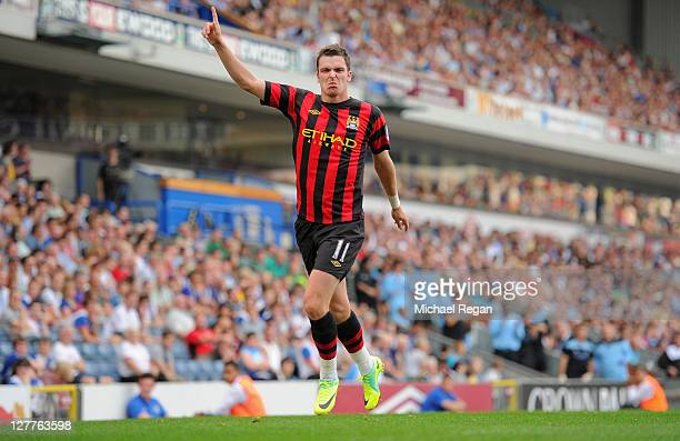 Adam Johnson of Manchester City celebrates scoring to make it 10 during the Barclays Premier League match between Blackburn Rovers and Manchester...