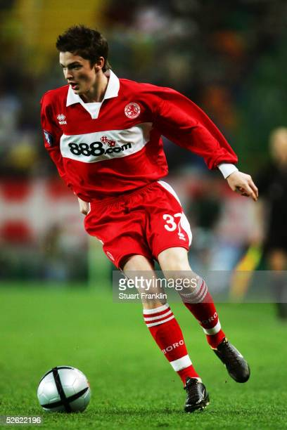 Adam Johnson of Middlesbrough in action during the UEFA Cup Match between Sporting Club Lisbon and Middlesbrough at The Jose Alvalade Stadium on...