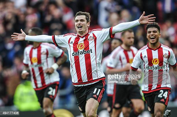 Adam Johnson of Sunderland celebrates after scoring a penalty and the opening goal during the Barclays Premier League match between Sunderland and...