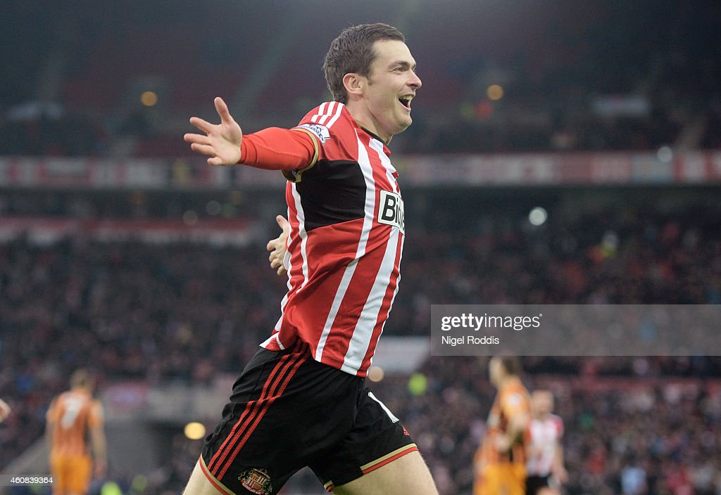 <a gi-track='captionPersonalityLinkClicked' href=/galleries/search?phrase=Adam+Johnson+-+Soccer+Player&family=editorial&specificpeople=6720094 ng-click='$event.stopPropagation()'>Adam Johnson</a> of Sunderland celebrates after scoring the opening goal during the Barclays Premier League match between Sunderland and Hull City at the Stadium of Light on December 26, 2014 in Sunderland, England.