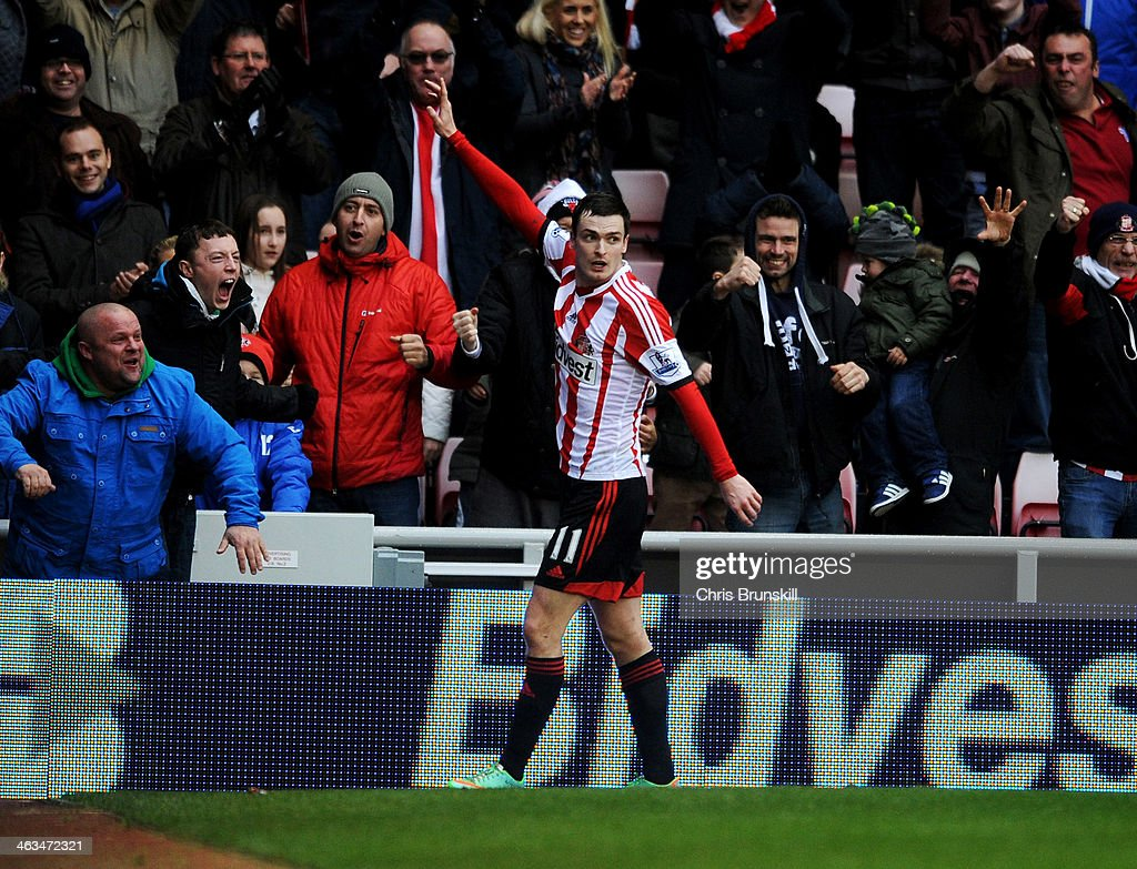 <a gi-track='captionPersonalityLinkClicked' href=/galleries/search?phrase=Adam+Johnson+-+Soccer+Player&family=editorial&specificpeople=6720094 ng-click='$event.stopPropagation()'>Adam Johnson</a> of Sunderland celebrates as he scores their second goal during the Barclays Premier League match between Sunderland and Southampton at Stadium of Light on January 18, 2014 in Sunderland, England.