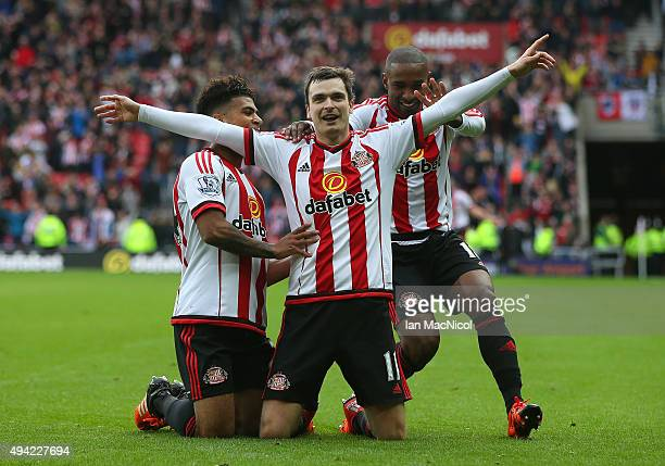 Adam Johnson of Sunderland celebrates scoring during the Barclays Premier League match between Sunderland and Newcastle at The Stadium of Light on...