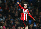 Adam Johnson of Sunderland celebrates scoring his penalty during the Barclays Premier League match between Manchester City and Sunderland at Etihad...