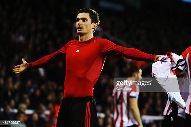 Adam Johnson of Sunderland celebrates scoring his sides third goal during the Barclays Premier League match between Fulham and Sunderland at Craven...