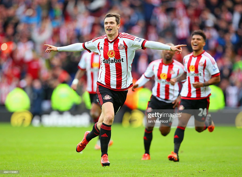 <a gi-track='captionPersonalityLinkClicked' href=/galleries/search?phrase=Adam+Johnson+-+Soccer+Player&family=editorial&specificpeople=6720094 ng-click='$event.stopPropagation()'>Adam Johnson</a> of Sunderland celebrates scoring his team's first goal from the penalty spot during the Barclays Premier League match between Sunderland and Newcastle United at Stadium of Light on October 25, 2015 in Sunderland, England.