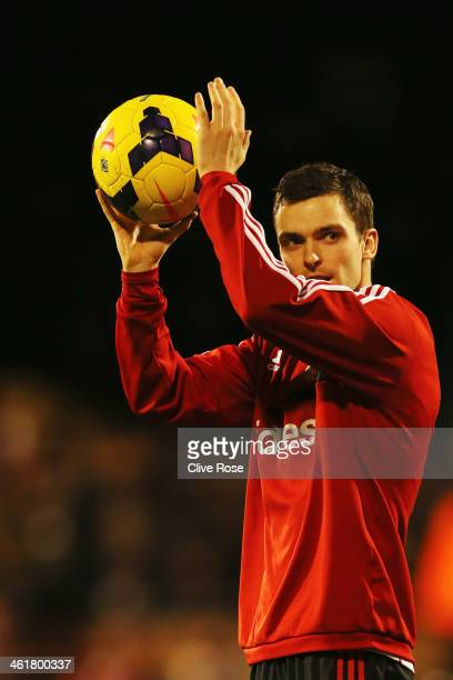 Adam Johnson of Sunderland celebrates with the match ball after scoring a hat trick during the Barclays Premier League match between Fulham and...