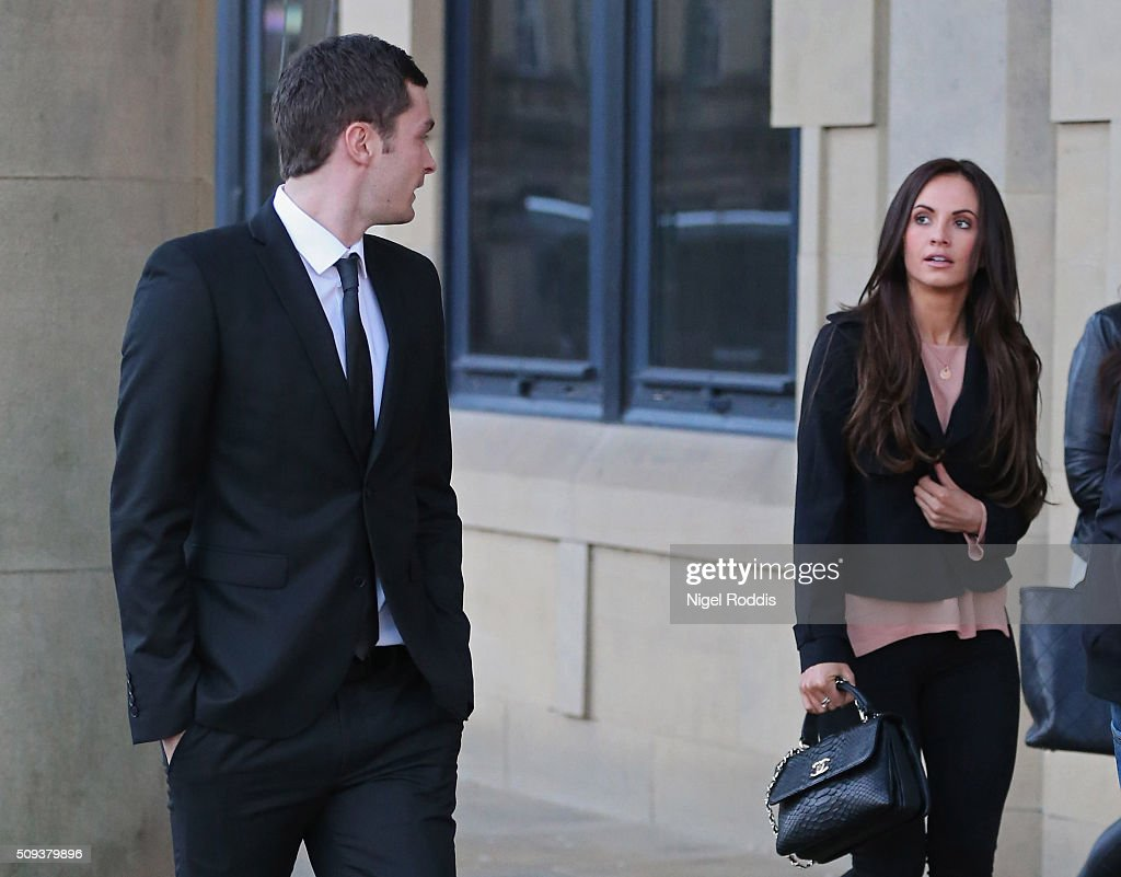 <a gi-track='captionPersonalityLinkClicked' href=/galleries/search?phrase=Adam+Johnson+-+Soccer+Player&family=editorial&specificpeople=6720094 ng-click='$event.stopPropagation()'>Adam Johnson</a> with girlfriend Stacey Flounders leaving Crown Court after admitting two charges against him and pleading not guilty to two others on February 10, 2016 in Bradford, England. The Sunderland FC midfielder, aged 28 and from Castle Eden, County Durham, will go on trial for two counts of sexual activity having pleaded guilty to two others. He has one daughter.