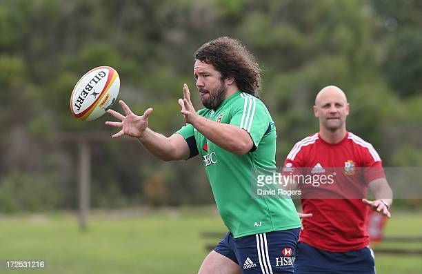 Adam Jones catches the ball during a British Irish Lions training session held at the Noosa Dolphins Rugby Club on July 3 2013 in Noosa Australia