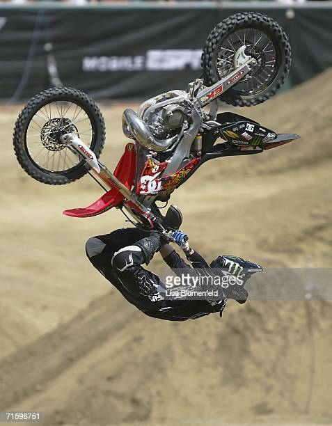 Adam Jones competes in the Moto X Freestyle Final during the ESPN X Games on August 6 2006 at Home Depot in Carson California