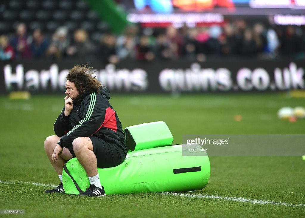 Adam Jones of Harlequins looks on prior to the Aviva Premiership match between Harlequins and Northampton Saints at Twickenham Stoop on February 6, 2016 in London, England. (Photo by Tom Dulat/Getty Images).