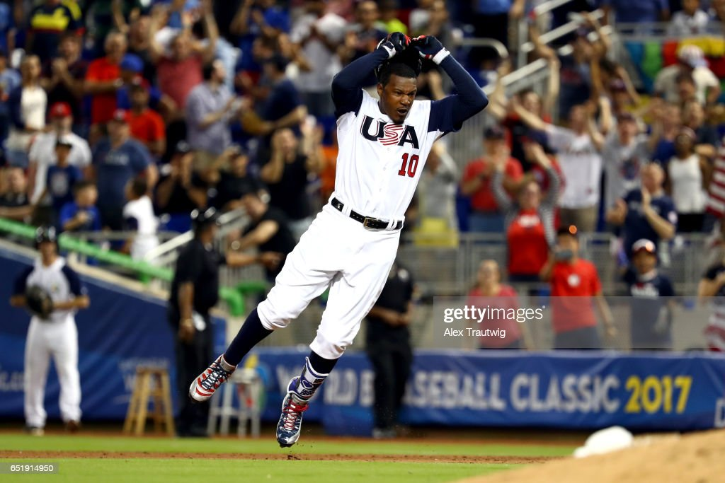Adam Jones #10 of Team USA reacts to hitting a walk off single in the bottom of the 10th inning during Game 2 Pool C of the 2017 World Baseball Classic against Team Colombia on Friday, March 10, 2017 at Marlins Park in Miami, Florida.
