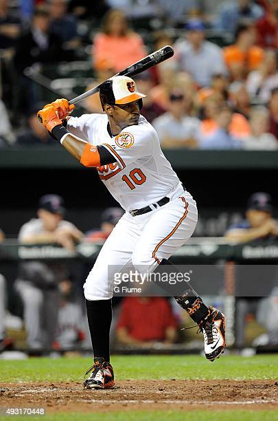 Adam Jones of the Baltimore Orioles bats against the Boston Red Sox at Oriole Park at Camden Yards on September 14 2015 in Baltimore Maryland