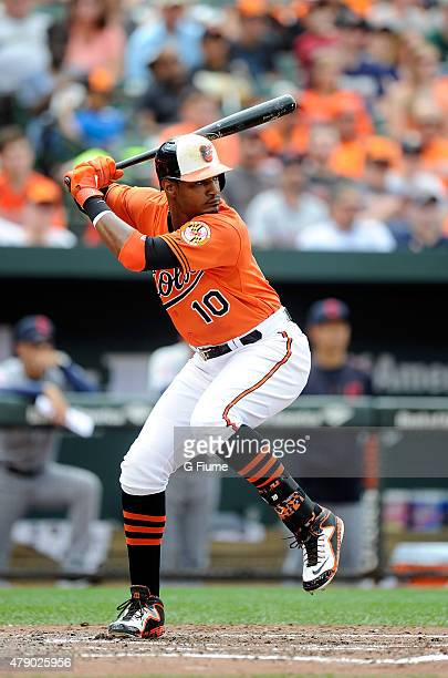 Adam Jones of the Baltimore Orioles bats against the Cleveland Indians at Oriole Park at Camden Yards on June 28 2015 in Baltimore Maryland