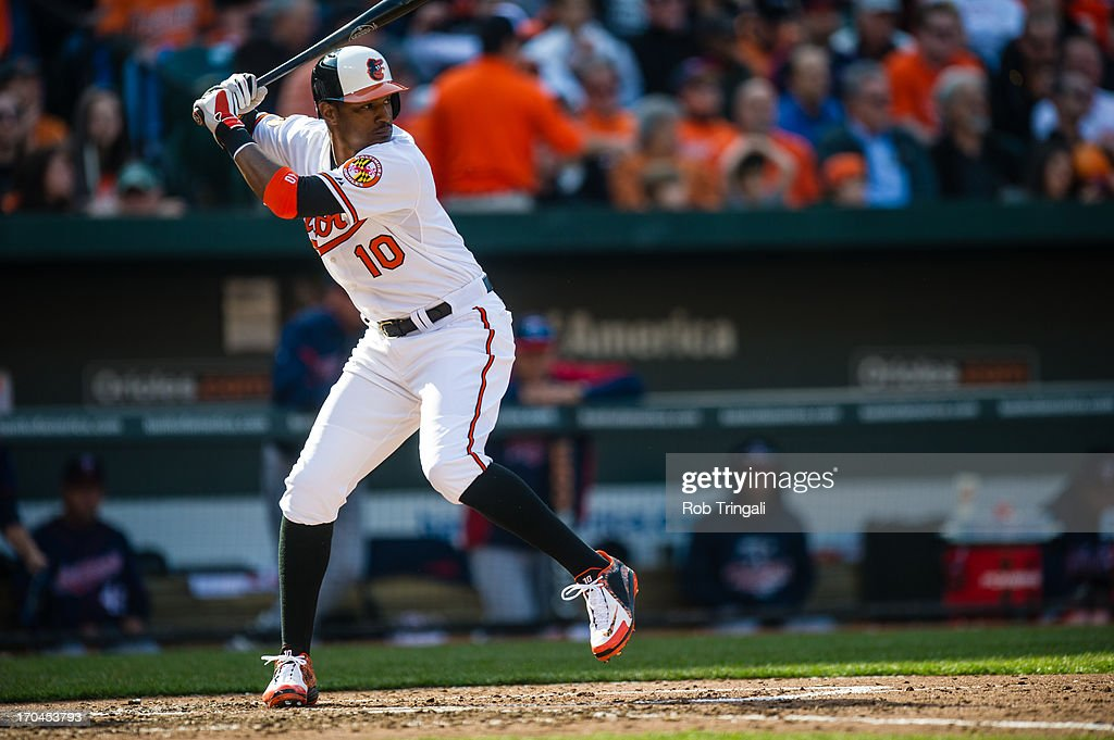 Adam Jones #10 of the Baltimore Orioles bats during the game against the Minnesota Twins at Oriole Park at Camden Yards on April 5, 2013 in Baltimore, Maryland.