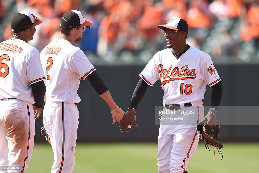 <a gi-track='captionPersonalityLinkClicked' href=/galleries/search?phrase=Adam+Jones+-+Baseball+Player&family=editorial&specificpeople=5460465 ng-click='$event.stopPropagation()'>Adam Jones</a> #10 of the Baltimore Orioles celebrates a win with <a gi-track='captionPersonalityLinkClicked' href=/galleries/search?phrase=J.J.+Hardy&family=editorial&specificpeople=216446 ng-click='$event.stopPropagation()'>J.J. Hardy</a> #2 after a baseball game against the Tampa Bay Rays at Oriole Park at Camden Yards on June 26, 2016 in Baltimore, Maryland. The Orioles won 12-5.
