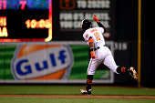 Adam Jones of the Baltimore Orioles celebrates as he runs the bases after hitting a threerun home run in the eighth inning during a baseball game...