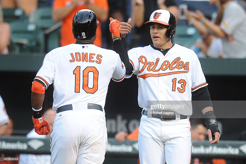 <a gi-track='captionPersonalityLinkClicked' href=/galleries/search?phrase=Adam+Jones+-+Baseball+Player&family=editorial&specificpeople=5460465 ng-click='$event.stopPropagation()'>Adam Jones</a> #10 of the Baltimore Orioles celebrates his two-run home run in the first inning with <a gi-track='captionPersonalityLinkClicked' href=/galleries/search?phrase=Manny+Machado&family=editorial&specificpeople=5591039 ng-click='$event.stopPropagation()'>Manny Machado</a> #13 during a baseball game against the Los Angeles Angels of Anaheim on July 30, 2014 at Nationals Park in Baltimore, Maryland.