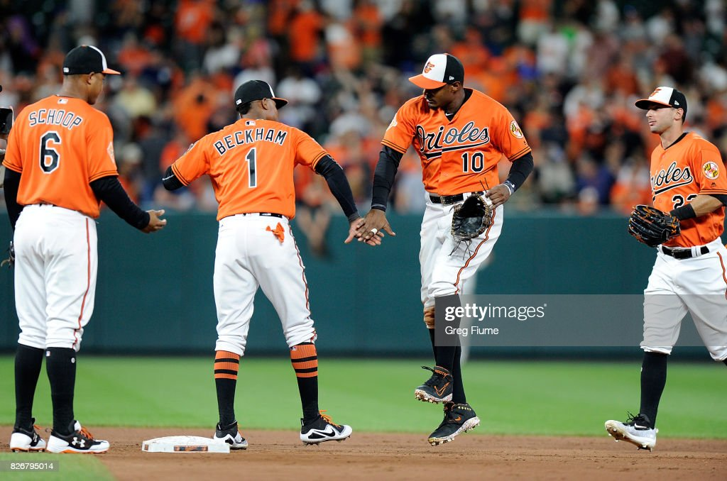 Adam Jones #10 of the Baltimore Orioles celebrates with Tim Beckham #1 after a 5-2 victory against the Detroit Tigers at Oriole Park at Camden Yards on August 5, 2017 in Baltimore, Maryland.