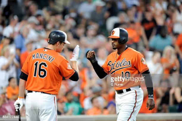 Adam Jones of the Baltimore Orioles celebrates with Trey Mancini after scoring against the Detroit Tigers at Oriole Park at Camden Yards on August 5...