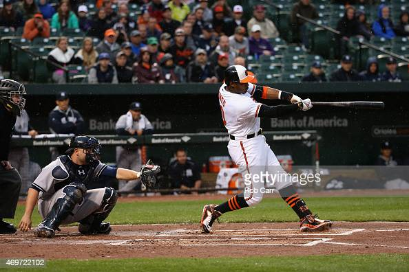 Adam Jones of the Baltimore Orioles follows his solo home run as catcher Brian McCann of the New York Yankees looks on in the first inning at Oriole...