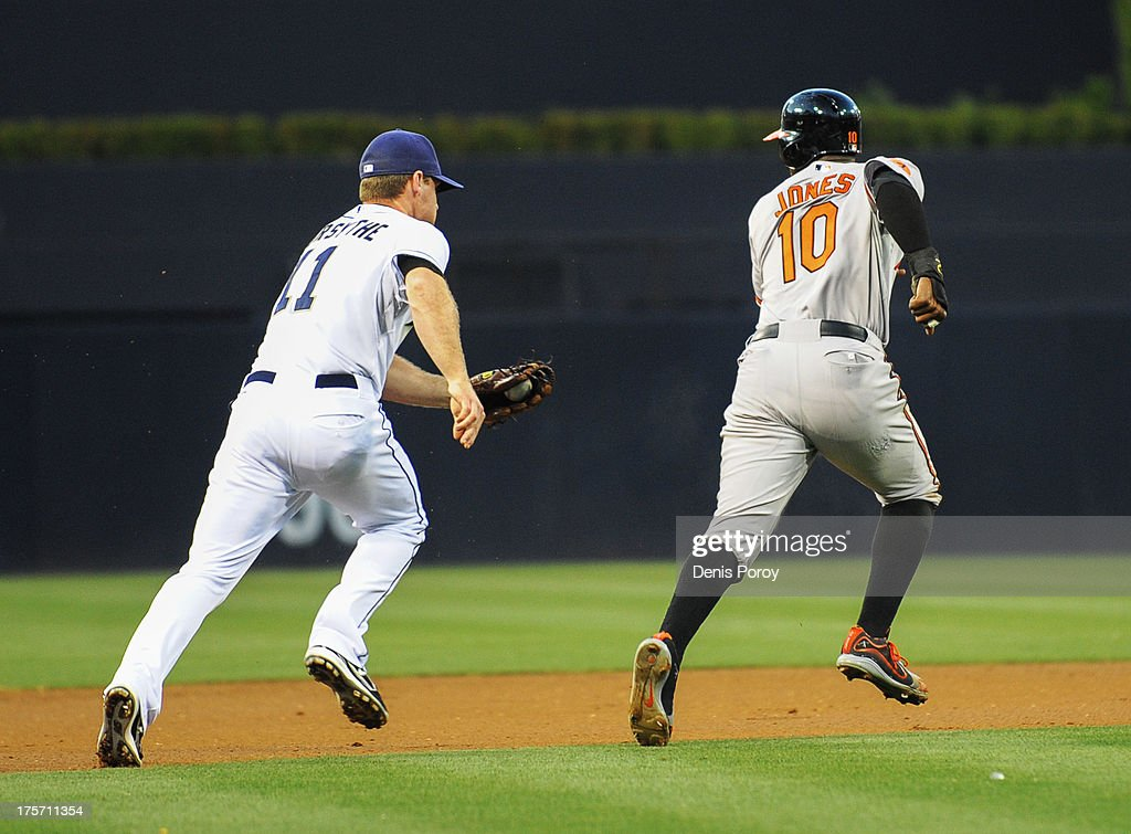 Adam Jones #10 of the Baltimore Orioles gets caught in a run down between second base and third base by <a gi-track='captionPersonalityLinkClicked' href=/galleries/search?phrase=Logan+Forsythe&family=editorial&specificpeople=4412508 ng-click='$event.stopPropagation()'>Logan Forsythe</a> #11 of the San Diego Padres during the first inning of a baseball game at Petco Park on August 6, 2013 in San Diego, California. Jones was tagged out on the play.