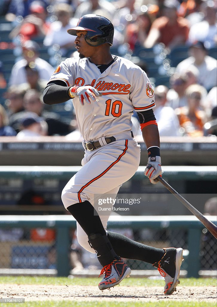Adam Jones #10 of the Baltimore Orioles hits a double off of Jose Valverde of the Detroit Tigers to drive in two runs in the ninth inning at Comerica Park on June 19, 2013 in Detroit, Michigan. The Orioles defeated the Tigers 13-3.