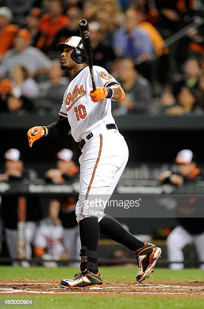 Adam Jones of the Baltimore Orioles hits a home run against the Kansas City Royals at Oriole Park at Camden Yards on September 13 2015 in Baltimore...