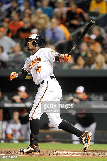 Adam Jones of the Baltimore Orioles hits a threerun home run in the first inning against the Kansas City Royals at Oriole Park at Camden Yards on...