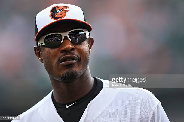Adam Jones of the Baltimore Orioles in action against the New York Yankees at Oriole Park at Camden Yards on June 14 2015 in Baltimore Maryland The...