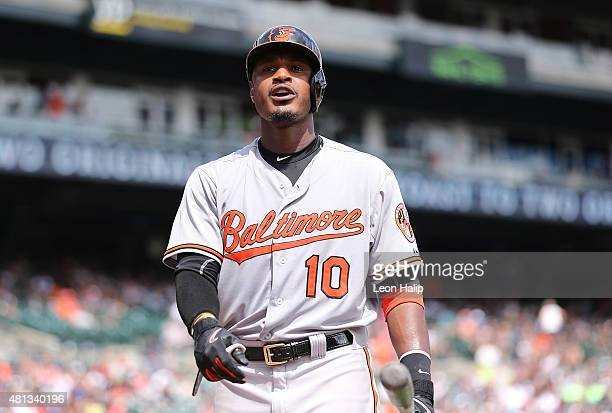 Adam Jones of the Baltimore Orioles looks into the stands during the seventh inning of the game against the Detroit Tigers on July 19 2015 at...