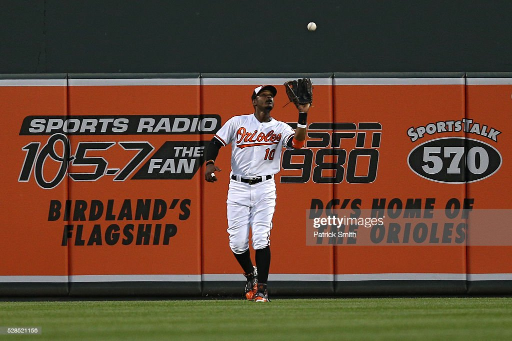 <a gi-track='captionPersonalityLinkClicked' href=/galleries/search?phrase=Adam+Jones+-+Baseballspieler&family=editorial&specificpeople=5460465 ng-click='$event.stopPropagation()'>Adam Jones</a> #10 of the Baltimore Orioles makes a catch on a hit by Mark Teixeira #25 of the New York Yankees (not pictured) in the second inning at Oriole Park at Camden Yards on May 5, 2016 in Baltimore, Maryland.