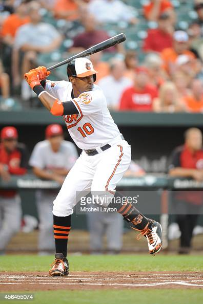 Adam Jones of the Baltimore Orioles prepares for a pitch during a baseball game against the Cincinnati Reds on September 3 2014 at Oriole Park at...