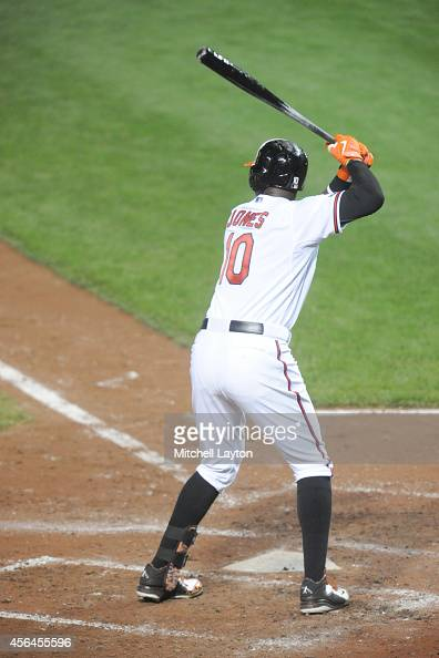 Adam Jones of the Baltimore Orioles prepares for a pitch during a baseball game against the New York Yankees on September 14 2014 at Oriole Park at...