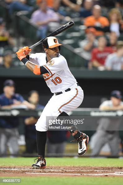 Adam Jones of the Baltimore Orioles prepares for a pitch during a baseball game against the Boston Red Sox at Oriole Park at Camden Yards on...
