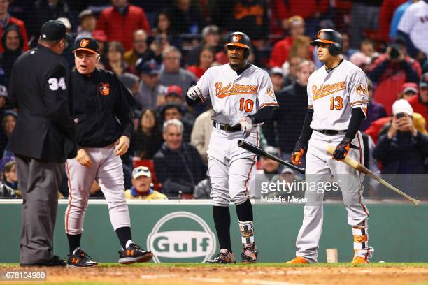 Adam Jones of the Baltimore Orioles reacts after being ejected by umpire Sam Holbrook as Manager Buck Showalter of the Baltimore Orioles disputes the...