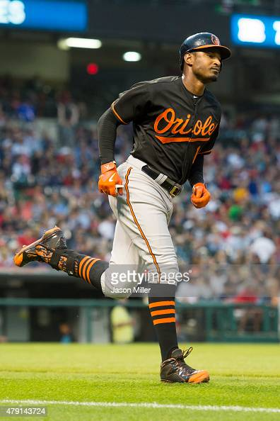 Adam Jones of the Baltimore Orioles rounds the bases after hitting a solo home run off starting pitcher Shaun Marcum of the Cleveland Indians during...