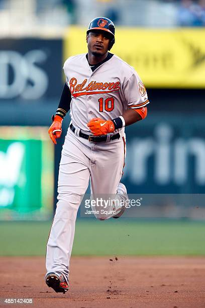 Adam Jones of the Baltimore Orioles rounds the bases after hitting a tworun home run during the 1st inning of the game against the Kansas City Royals...