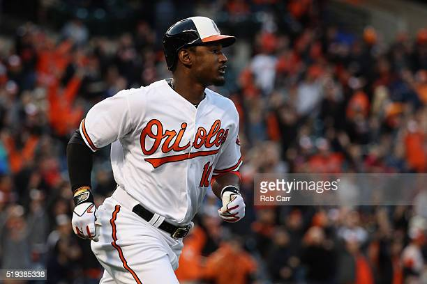 Adam Jones of the Baltimore Orioles runs out a hit against the Minnesota Twins at Oriole Park at Camden Yards on April 4 2016 in Baltimore Maryland