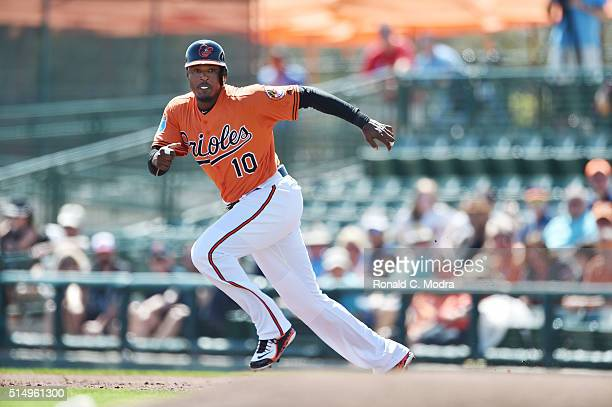 Adam Jones of the Baltimore Orioles runs to second base during a spring training game against the Minnesota Twins at Ed Smith Stadium on March 7 2016...