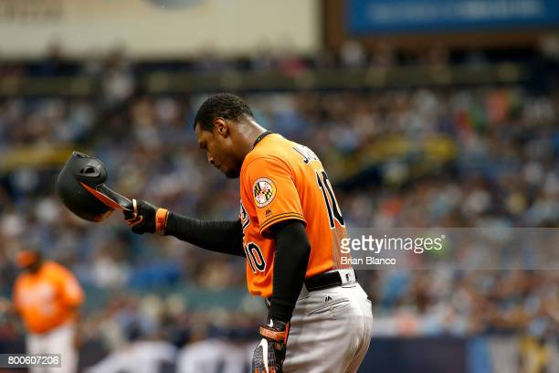 Adam Jones of the Baltimore Orioles strikes out swinging to end the top of the first inning of a game against the Tampa Bay Rays on June 24 2017 at...