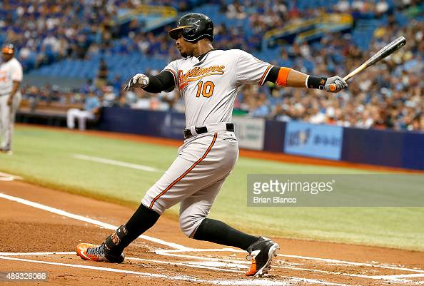 Adam Jones of the Baltimore Orioles strikes out swinging to pitcher Jake Odorizzi of the Tampa Bay Rays during the first inning of a game on...