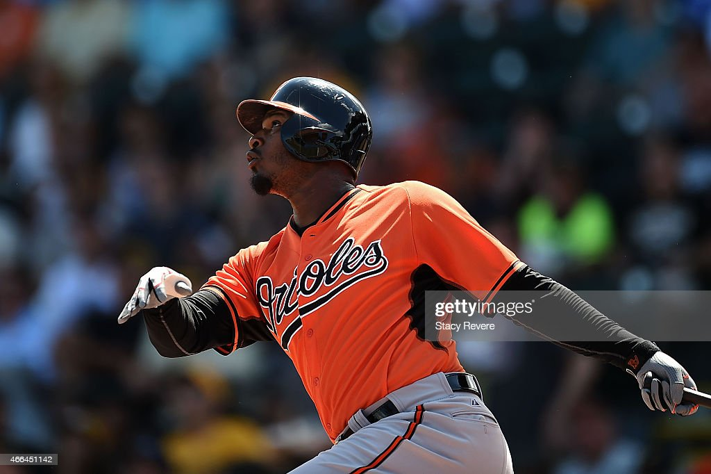 <a gi-track='captionPersonalityLinkClicked' href=/galleries/search?phrase=Adam+Jones+-+Baseball+Player&family=editorial&specificpeople=5460465 ng-click='$event.stopPropagation()'>Adam Jones</a> #10 of the Baltimore Orioles swings at a pitch during a spring training game against the Pittsburgh Pirates at McKechnie Field on March 15, 2015 in Bradenton, Florida.